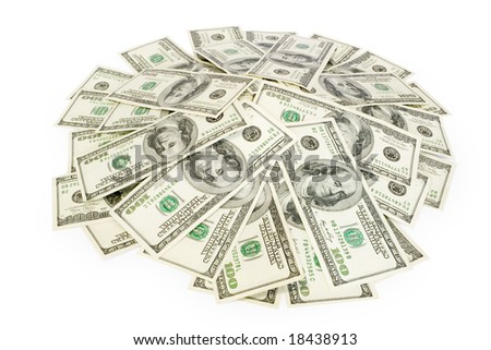 big pile of money isolated on white