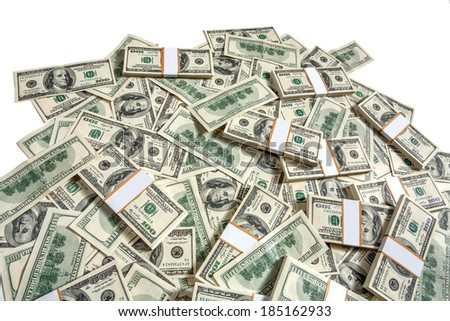 Big pile of money / studio photography of American moneys of hundred dollar