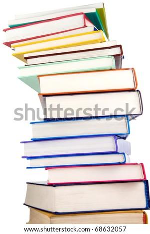 big pile of new books isolated on white background - stock photo