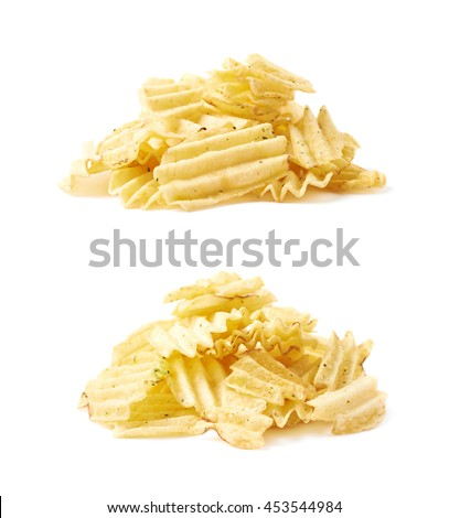 Big pile of potato chips crisps isolated over the white background, set of two different foreshortenings