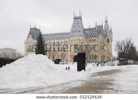 big pile of snow at Culture Palace in Iasi city, Romania