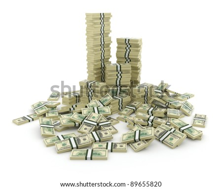 Big pile of the money. Green  dollars USA 3D concept. Isolated on white background - stock photo