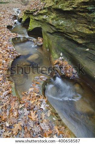 Big Pine Creek flows through Fall Creek Gorge in Autumn, Fall Creek Gorge Nature Conservancy, Warren County, Indiana