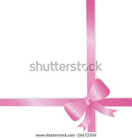 Big pink holiday bow on white background