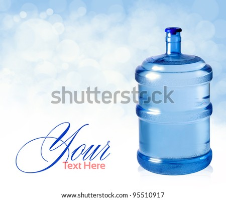 big plastic bottle for potable water  on a white background - stock photo
