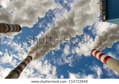 Big pollution in polish coal power plant. - stock photo