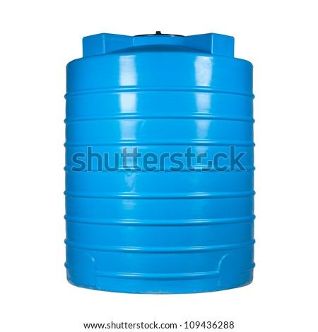 Big polyethylene container of 2000 l. for accumulation,storage and transportation of not only technical or drinking water,but also a variety of dry & liquid food products, as well as oils & chemicals. - stock photo