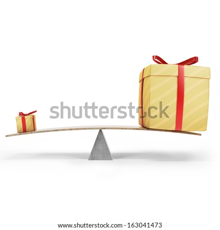 Big present or small present? Bigger is better? Two gift boxes on balance. Isolated on white.