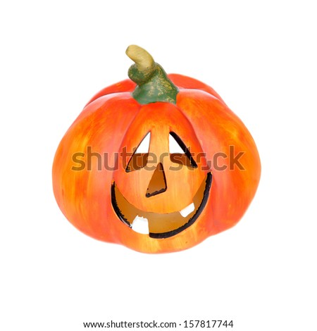Big pumpkin with laughing face isolated on a white background