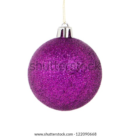 Big purple Christmas ball decoration isolated on white background. - stock photo