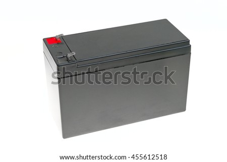 Big rechargeable battery isolated on white background - stock photo