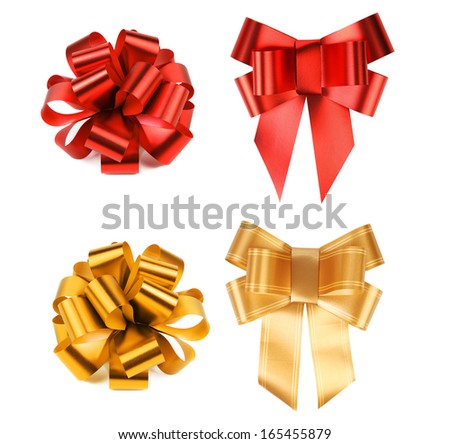 Big red and yellow bows. Isolated on a white background.