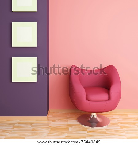 Big red armchair against pink wall and three empty pictures.Modern interior composition.3d rendered. - stock photo