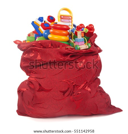 big red bag with many toys on the while background