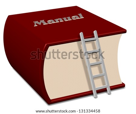 Big red book with a title spelling manual / Manual book - stock photo