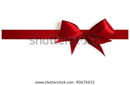 Big red bow with shadow on a white background. Full resolution version. - stock photo