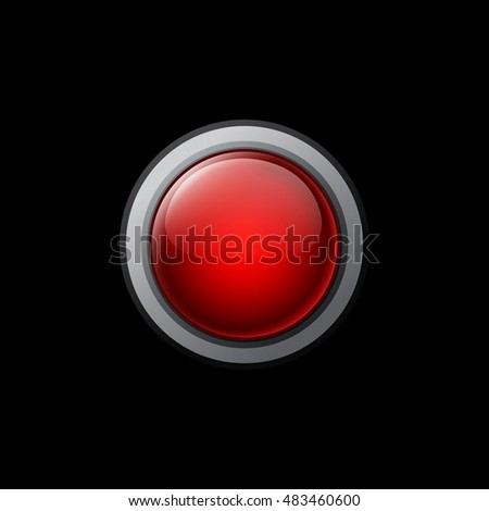 Big red button on a black background. Raster objects for website or printed material.