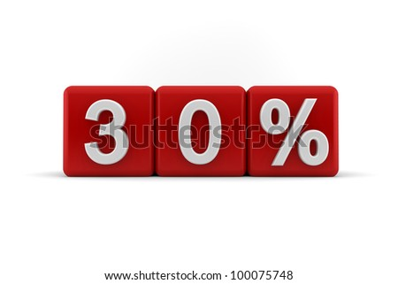 Big red 3D blocks with white 30 percent text - stock photo