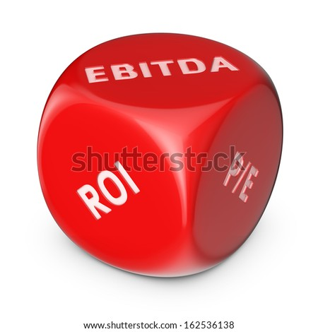 Big red dice with financial options - stock photo