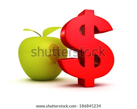 big red dollar symbol with green apple. business success finance concept 3d render illustration