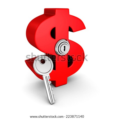 big red dollar symbol with lock key. business success concept 3d render illustration - stock photo
