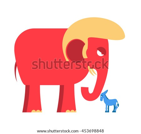 Big Red Elephant and little blue donkey symbols of political parties in America. Democrats against Republicans. Opposition to USA policy. Symbol of political debate.  American elections
