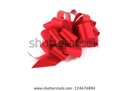 Big Red Glossy Gift Bow isolated on white background - stock photo