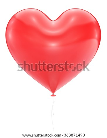 Big Red Heart Balloon Isolated On White Background - stock photo