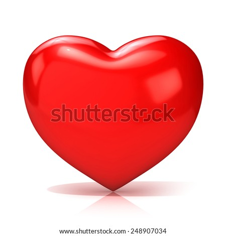 Big red heart. 3D render illustration isolated on white background. Front view