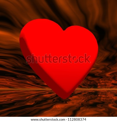 Big red heart in orageous background - stock photo