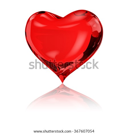 Big red heart on white background with reflection - stock photo