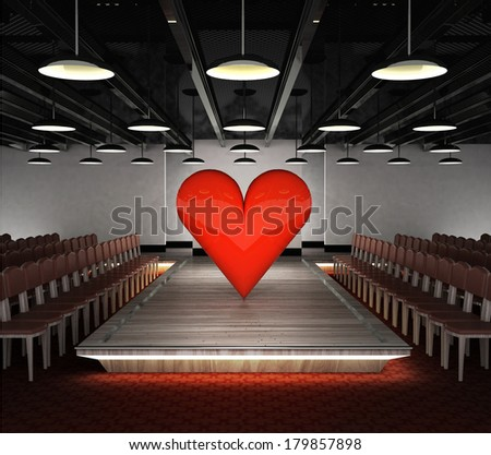 big red heart situated on fashion exhibition podium concept illustration