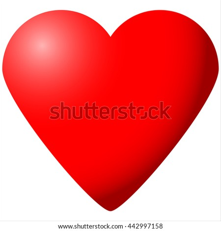 big red heart Valentine's Day isolated on white background