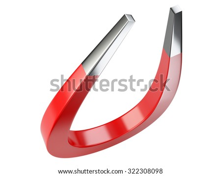 Big red magnet isolated on white background - stock photo
