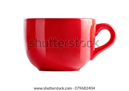 Big red mug in front view. Red cup for tea juice or soup. Red cup isolated on white background with clipping path. - stock photo