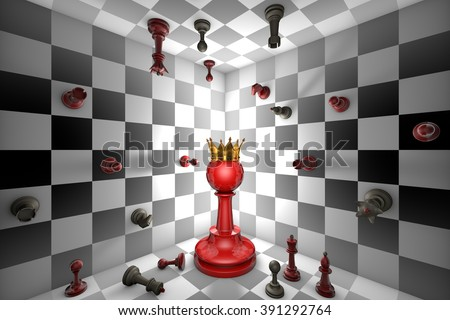Big red pawn and a golden crown. Closed chess space. Many small chess.