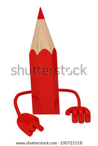 big red pencil pointed finger behind wall