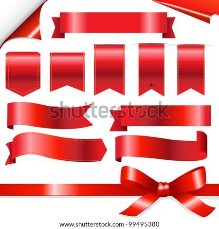 Big Red Ribbons Set, Isolated On White Background - stock photo