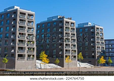 Big residential buildings seen in Hamburg, Germany - stock photo