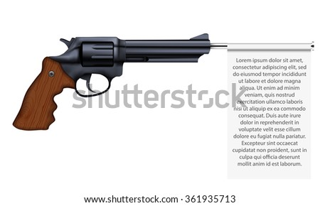 Big Revolver with empty flag. Space for text.  Illustration isolated on white background.