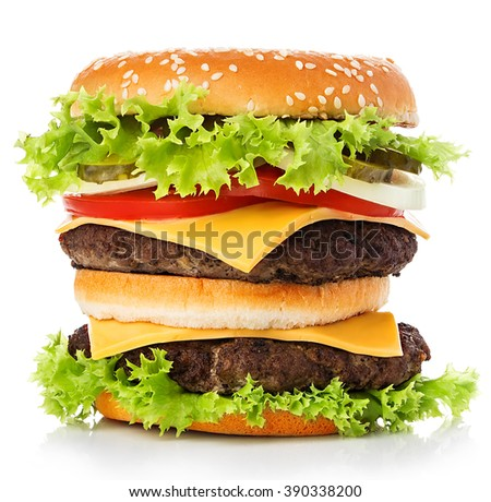 Big royal appetizing burger, hamburger, cheeseburger close-up isolated on a white background.