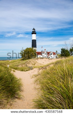 Big Sable Lighthouse at Ludington State Park on the shores of Lake Michigan.  - stock photo