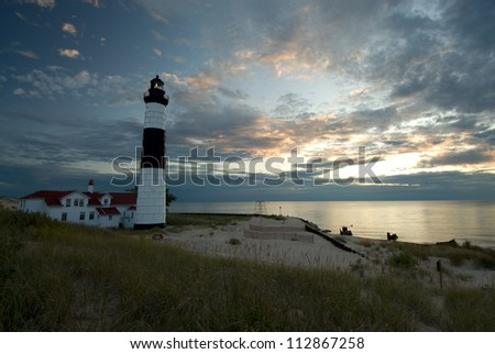 Big Sable lighthouse in Ludington State Park, at dusk, along the shores of Lake Michigan