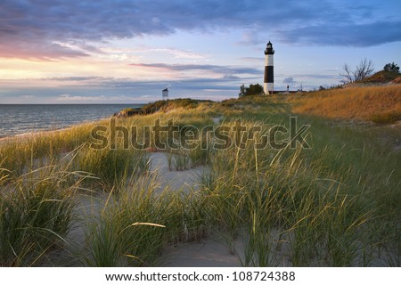 Big Sable Point Lighthouse. Image of the Big Sable Point Lighthouse and the Lake Michigan shoreline, Michigan, USA. - stock photo