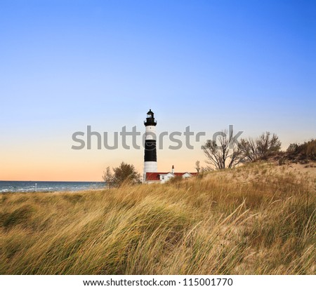 Big Sable Point Lighthouse In Beautiful Evening Light, Michigan's Lower Peninsula, USA - stock photo