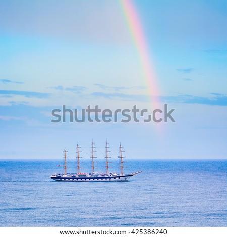 Big Sailing Ship in the Black Sea - stock photo