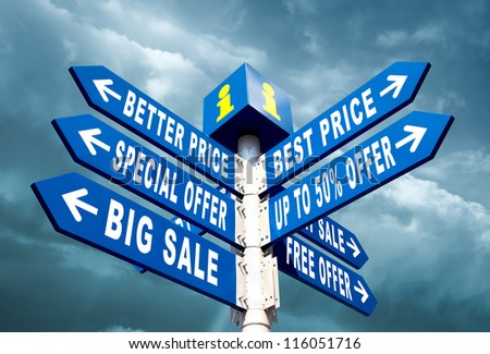 Big Sale, Better Price and Special Offer Directional Road Signs