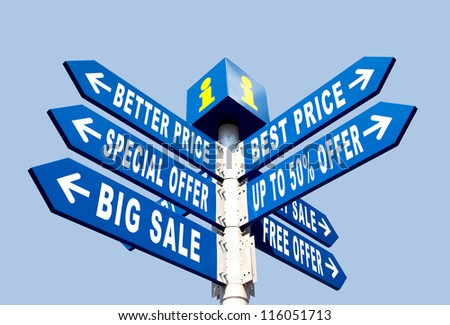 Big Sale, Better Price and Special Offer Directional Road Signs on Blue Sky