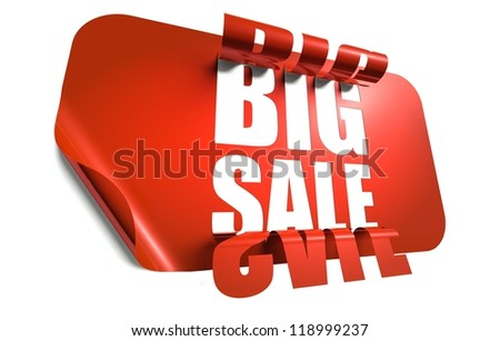 Big sale concept, cut out in red sticker