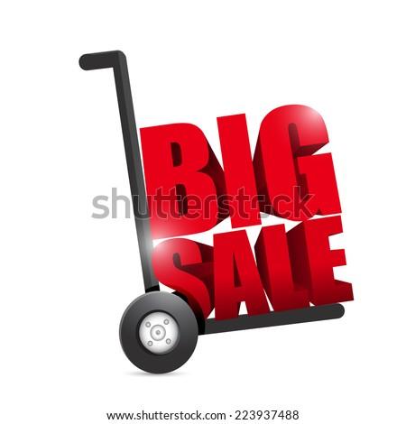 big sale hand truck illustration design over a white background - stock photo